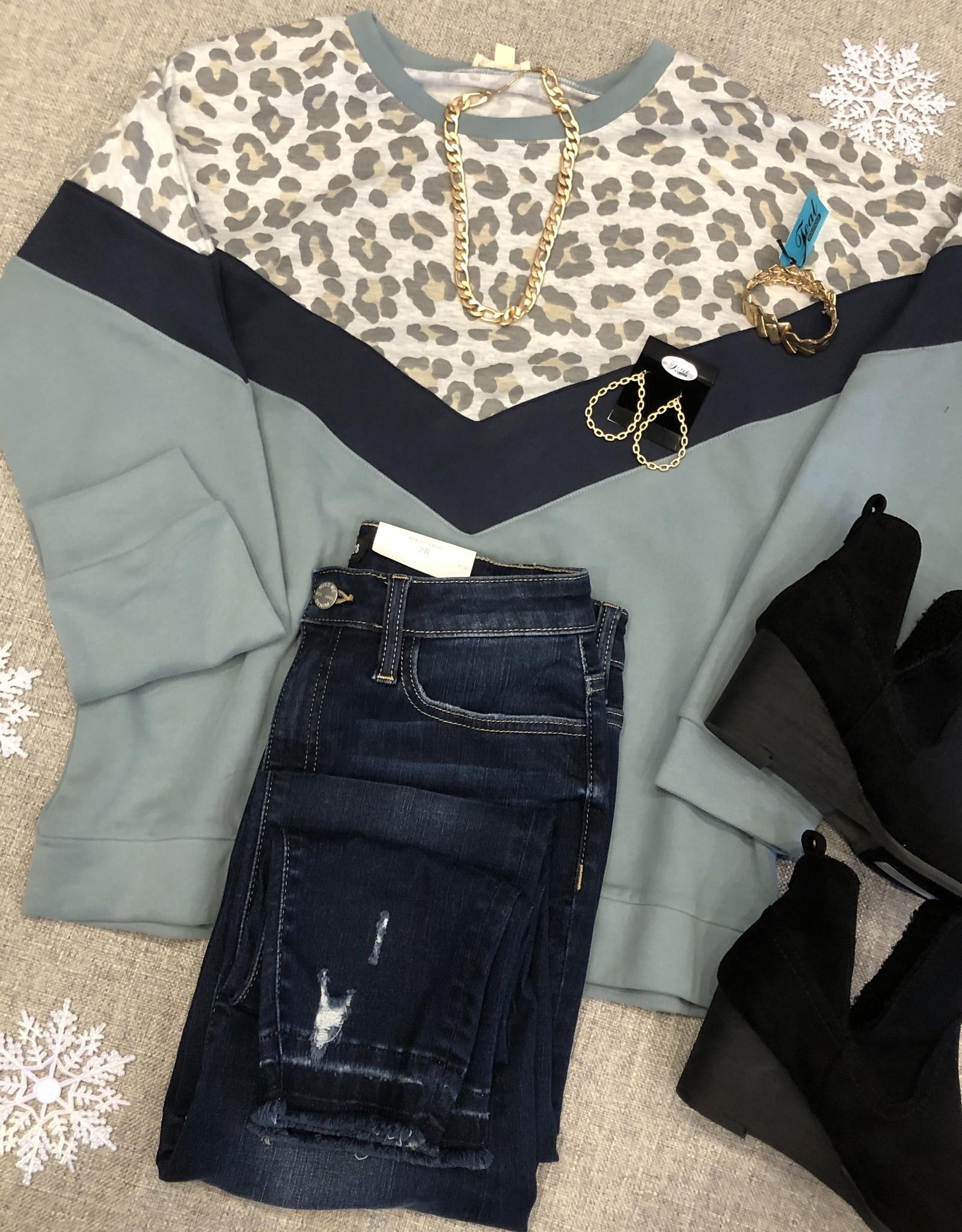 Mint Leopard Sweatshirt