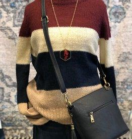Burgundy Balloon Sleeve Sweater