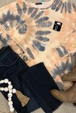 Peach Terry Tie Dye Top