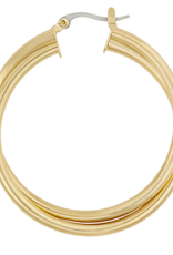 Five and Two Remi, Intertwined Hoop, Gold Plated
