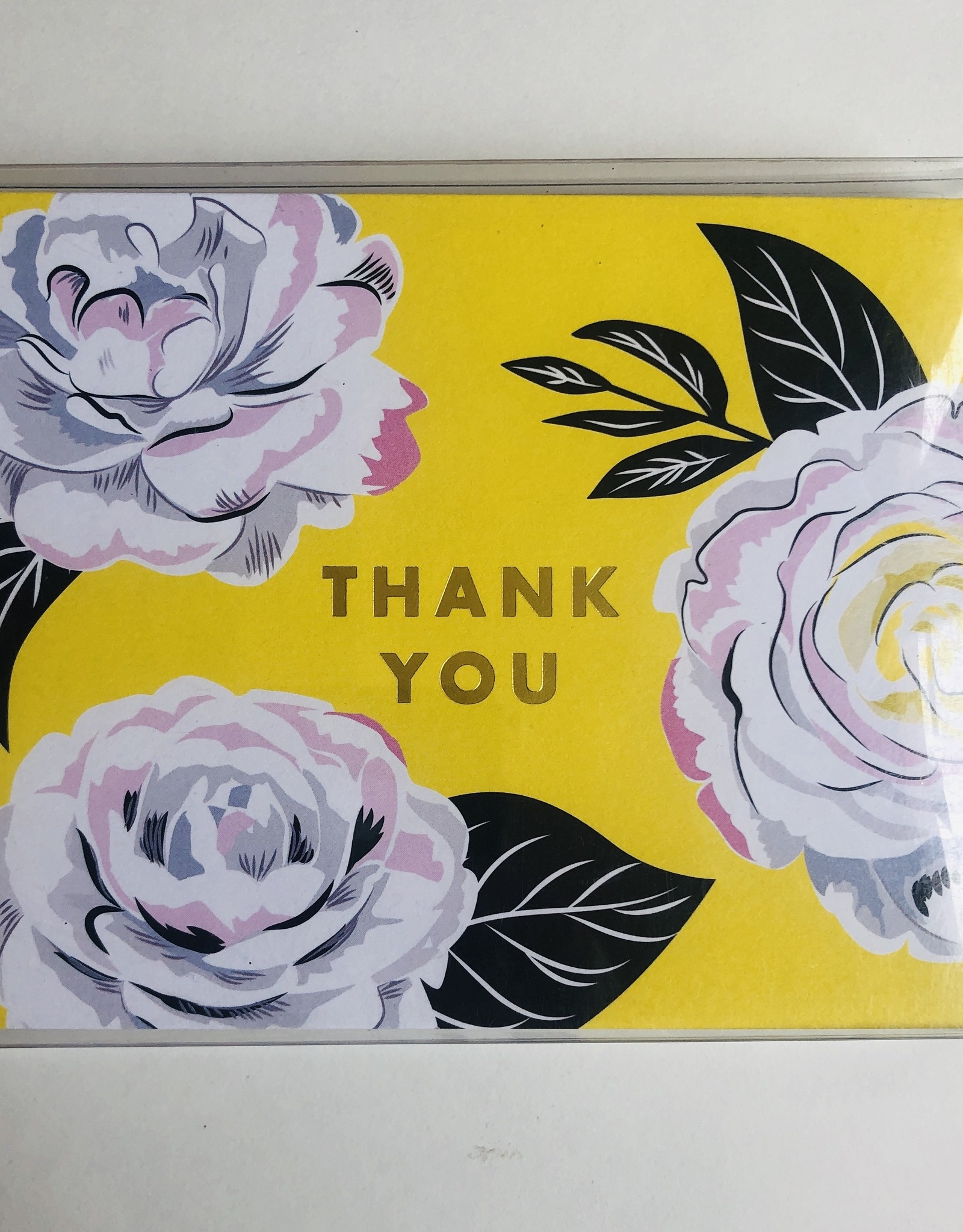 """waste not paper """"Thank You""""  Yellow Flower, 10 Card & Envelope Pack"""