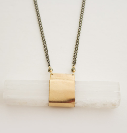 CLP Jewlery CLP Jewlery - Sterling Silver Chain With Selenite Crystal & Pyrite Rock