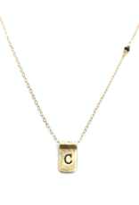 CLP Jewlery Initial Stamped Gold Necklace