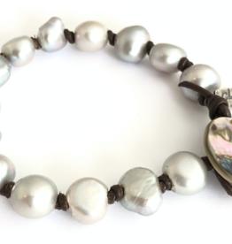 CLP Jewelry CLP Jewelry - Grey Pearl Knotted Bracelet