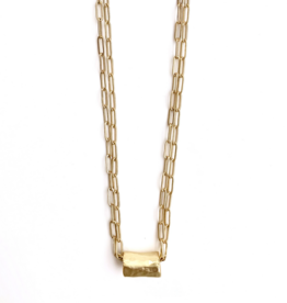 Erin Gray Barrel on Double Gold Necklace