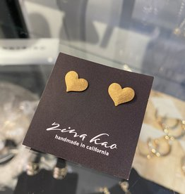 Zina Kao Zina Kao - Gold Medium Flat Heart Post Earring