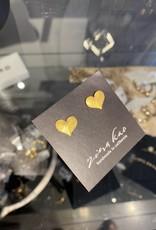 Zina Kao Gold Medium Flat Heart Post Earring