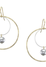 Marjorie Baer Marjorie Baer E9436DW7 Extra Large Wire Rings with Grey Pearl Drop Earring