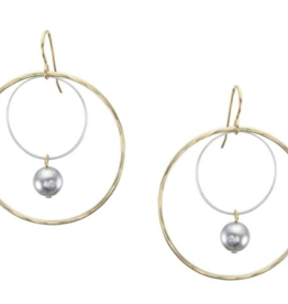 Marjorie Baer Extra Large Wire Rings with Grey Pearl Drop Earring