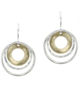 Marjorie Baer Cutout Disc with Double Thin Rings Wire Earring