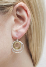 Marjorie Baer Marjorie Baer E9975DW Cutout Disc with Double Thin Rings Wire Earring