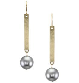 Marjorie Baer Long Rectangle with Large Grey Pearl Wire Earring