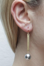 Marjorie Baer Marjorie Baer E9851BW7 Long Rectangle with Large Grey Pearl Wire Earring