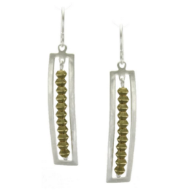 Marjorie Baer Square Frame with Bead Line Earring