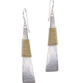 Marjorie Baer Long Wire Wrapped Triangle Wire Earring