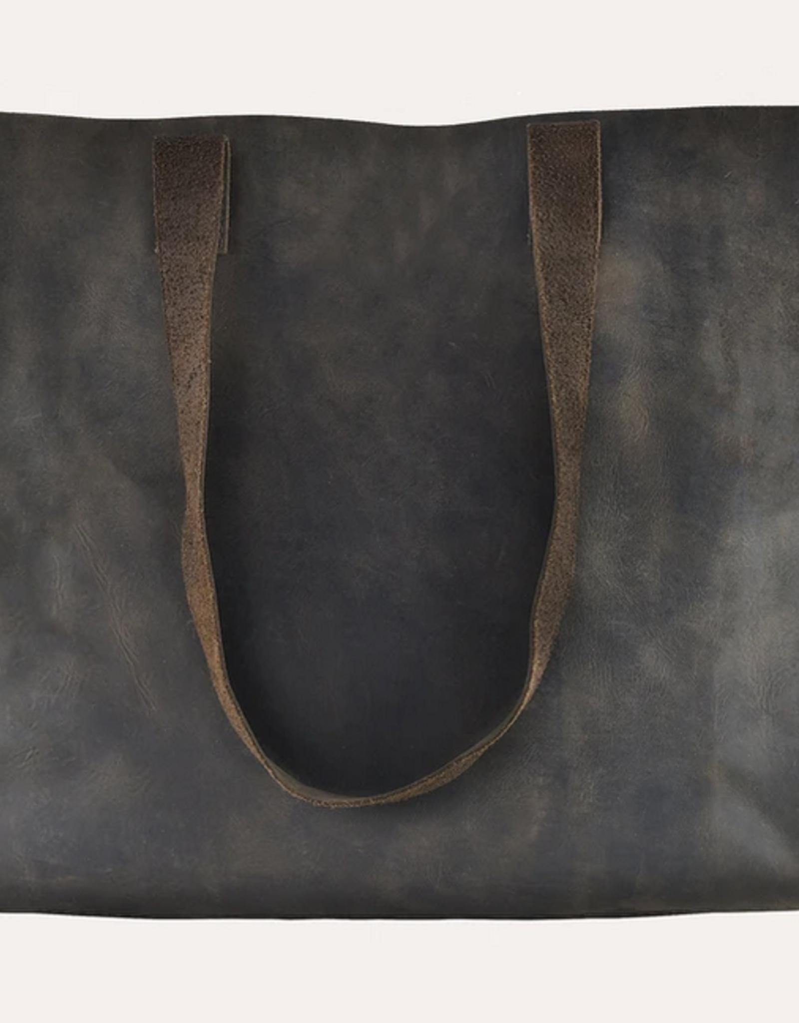 Kiko Leather Raw Edge Tote