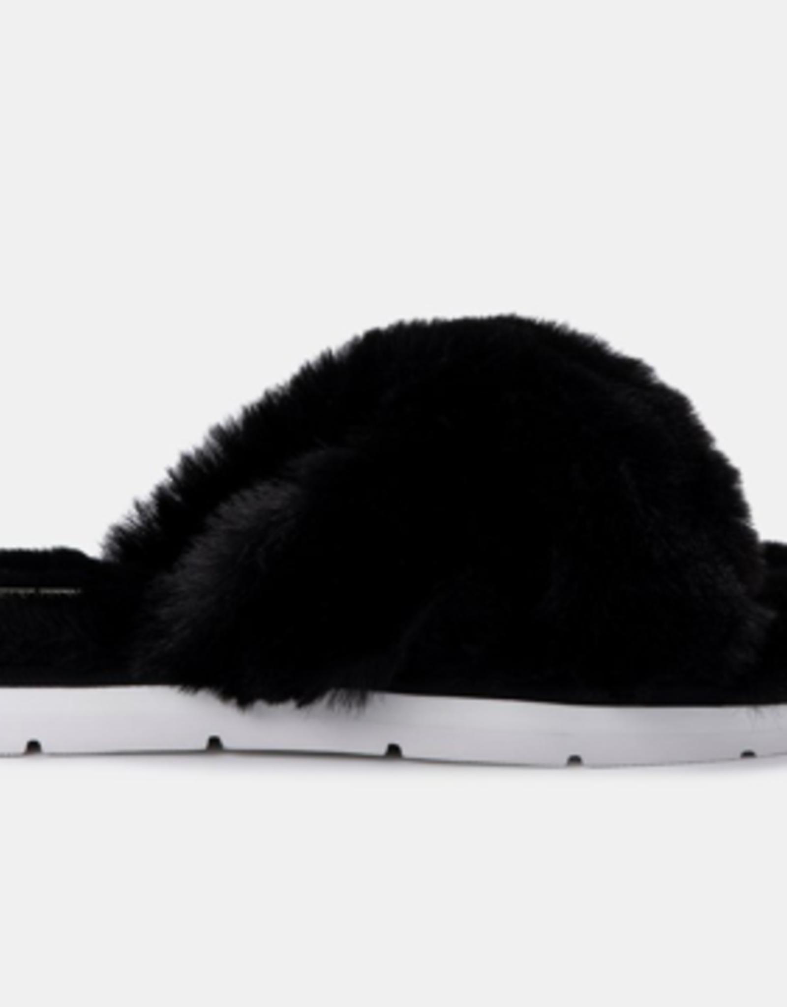Dolce Vita Pillar Black Faux Fur Slippers