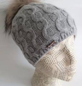 Frost Cashmere Rolled Out Cuff Beanie with Raccoon Pom