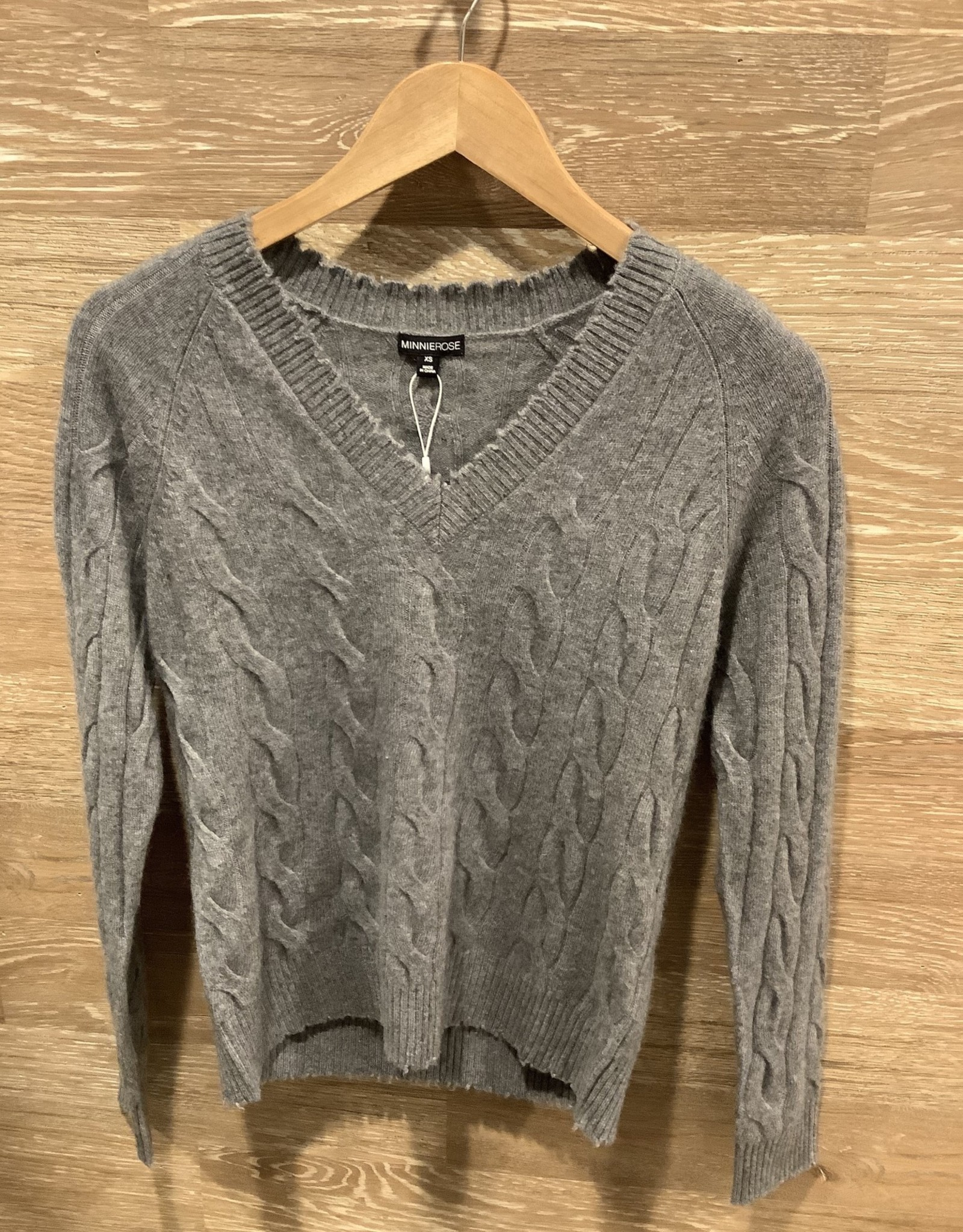 Minnie Rose Cashmere Cable Frayed Vneck