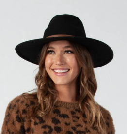 Lucca Couture Black Wool Fedora with Trim