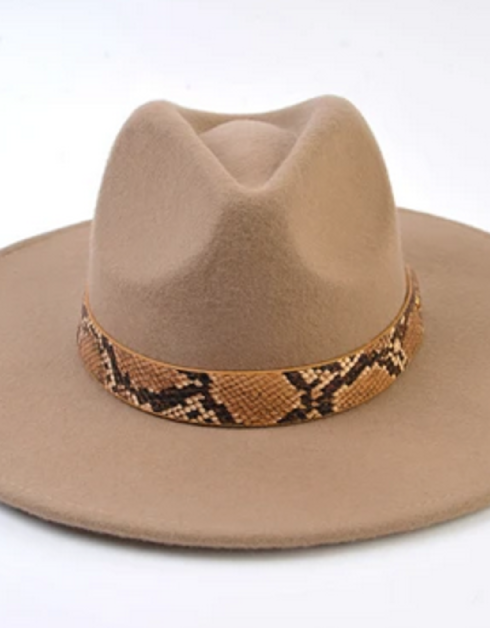Lucca Couture Taupe Snake Trim Wool Fedora