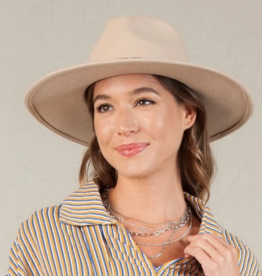 Lucca Couture Cream Snake Trim Wool Fedora