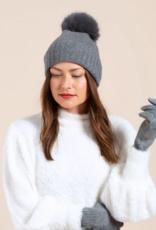 Hat Attack Hat Attack-Cashmere Slouchy Cuff Hat-Fur Pom