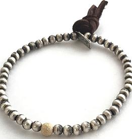 CLP Jewelry Silver Bead Bracelet w/ Stardust Offset
