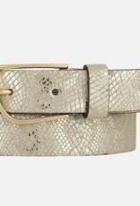 Amsterdam Heritage 30603 Carlyn Silver White Snake Leather Belt