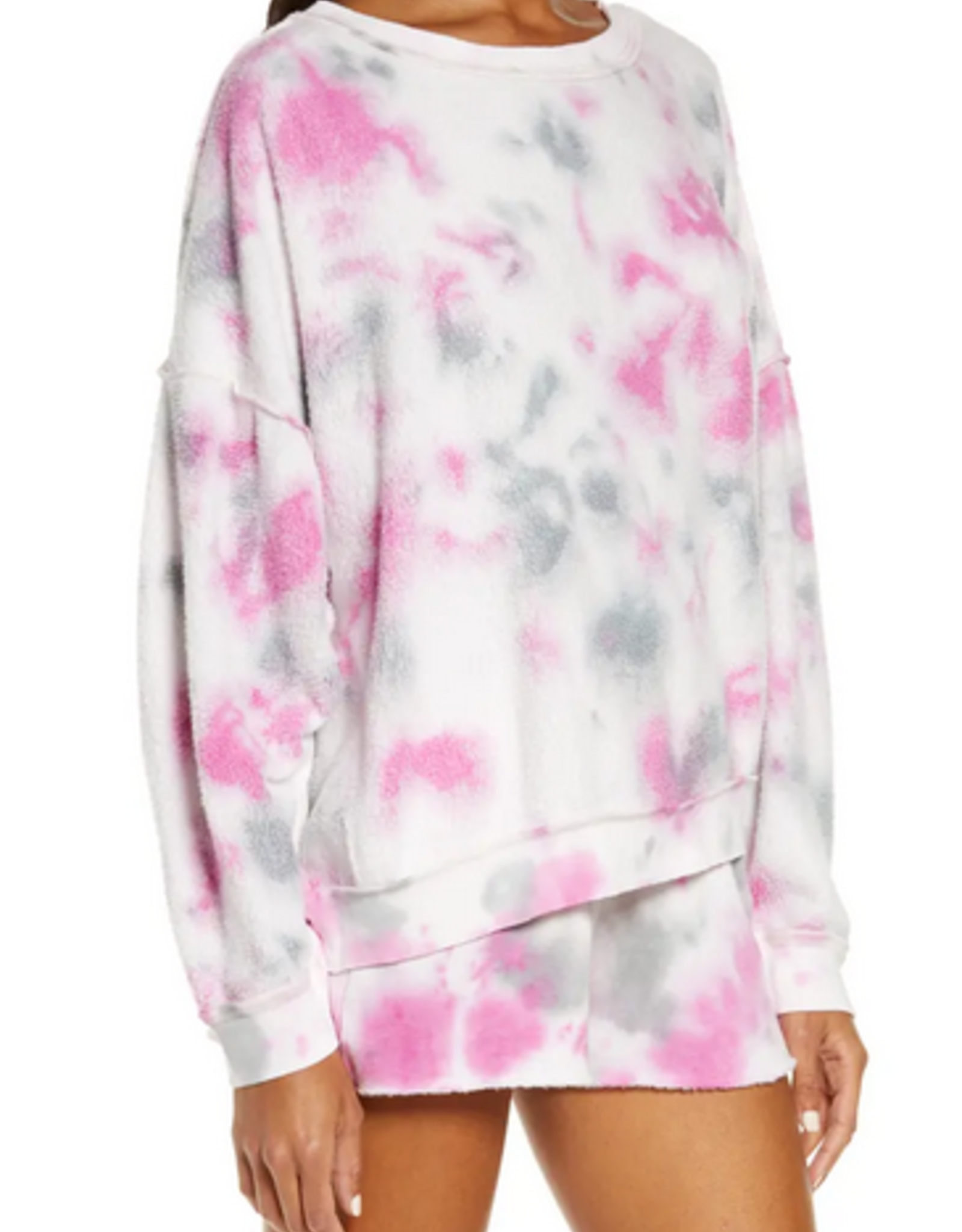 Free People Kelly Washed Tie Dye Sweatshirt and short set