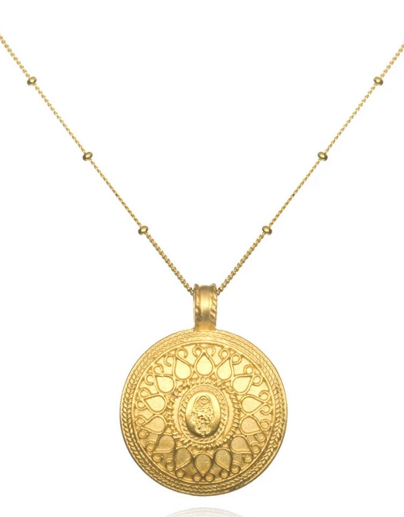 "SATYA Jewelry SATYA Jewelry - Gold Hamsa Mandala Necklace 24"""