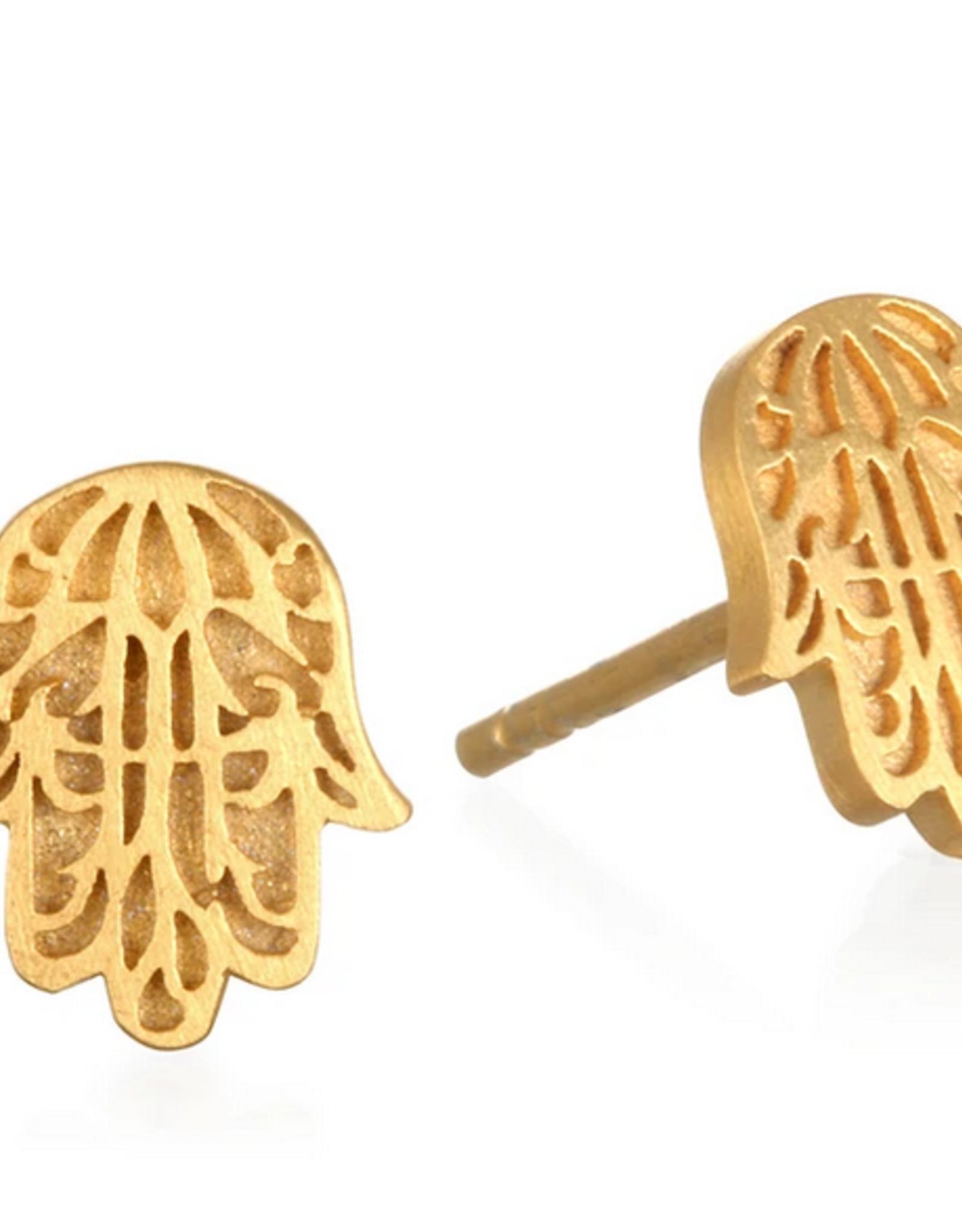 SATYA Jewelry SATYA Jewlery - Sacred Guardian Gold Hamsa Stud Earring
