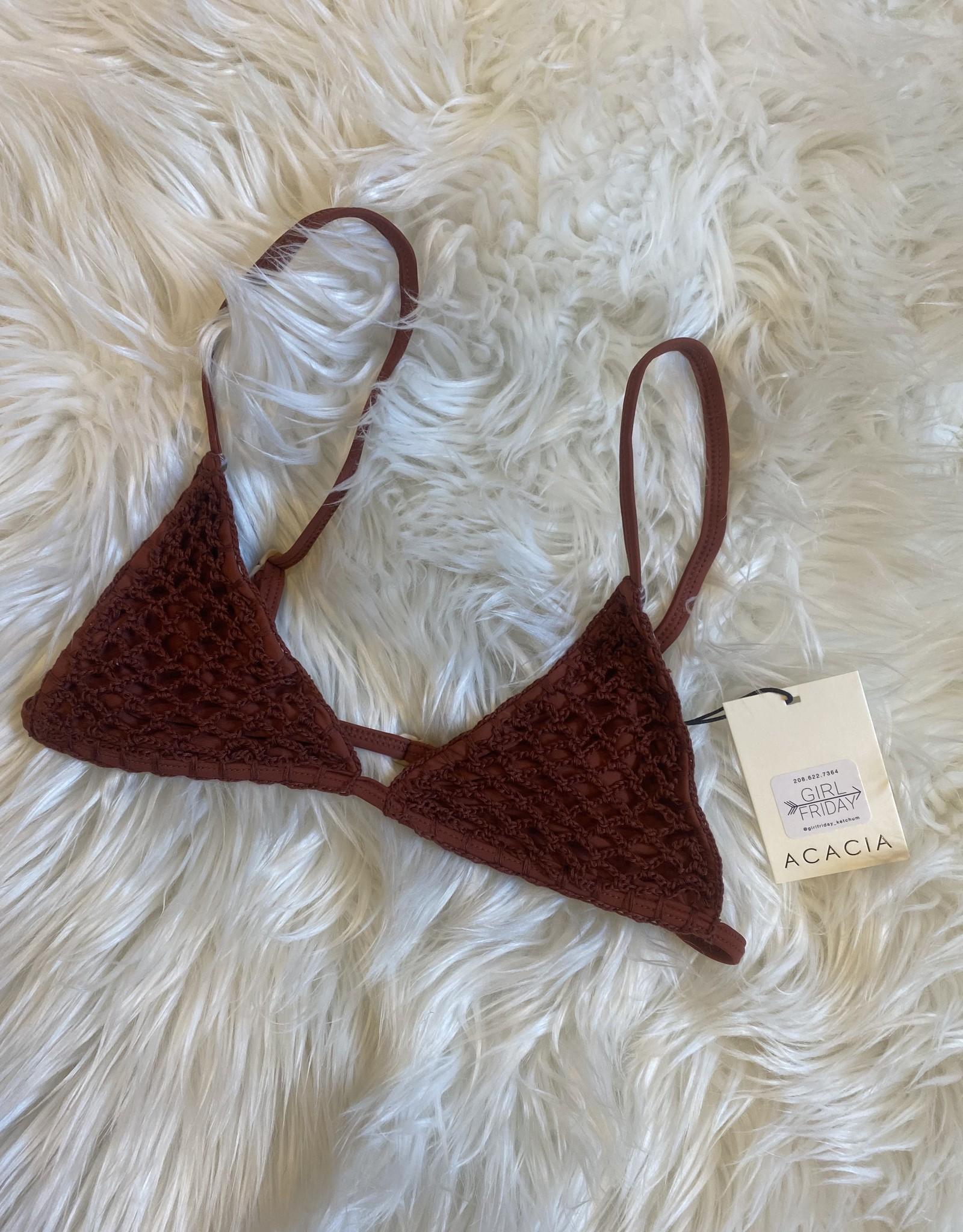 acacia Baja Crochet Top Clove