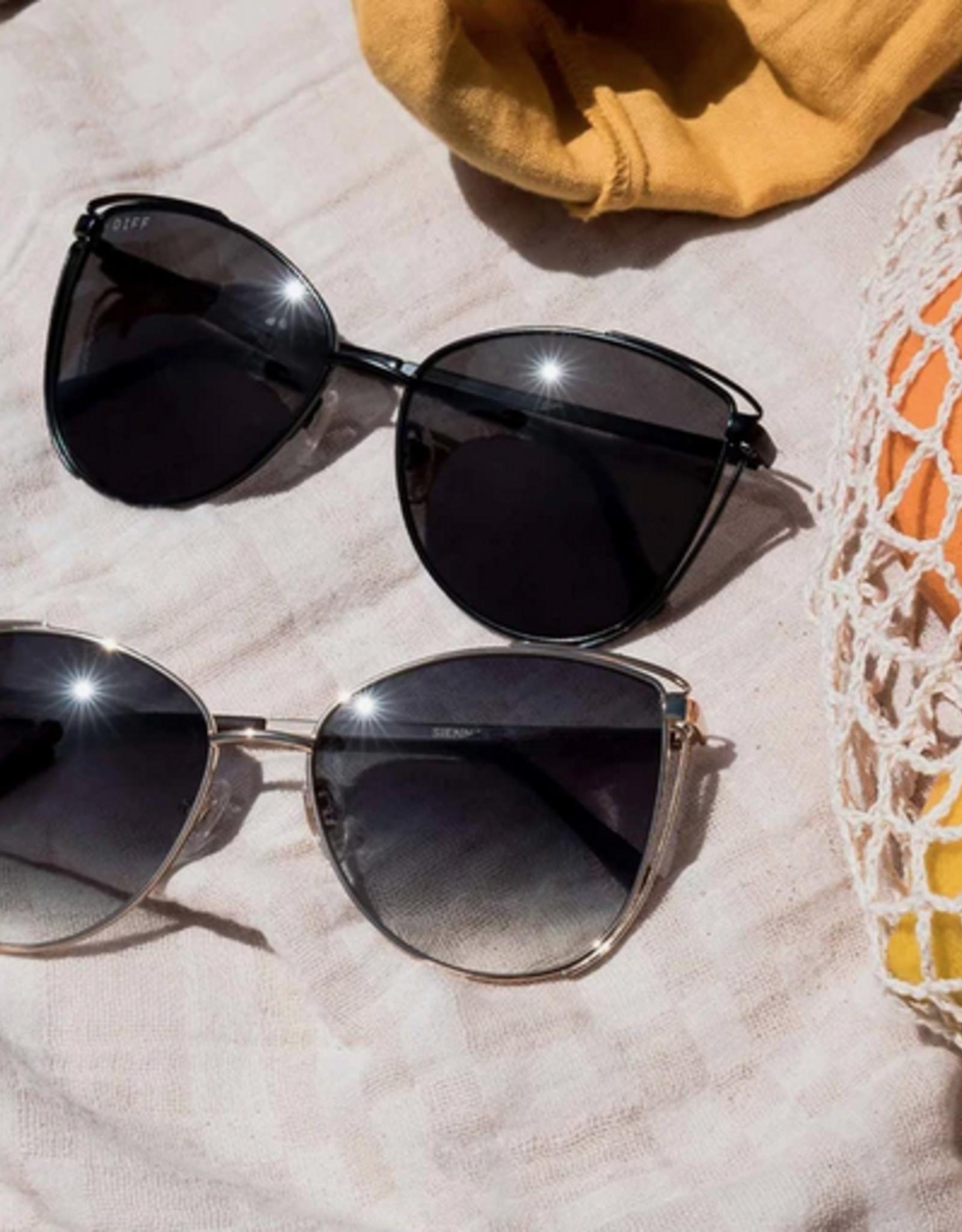 DIFF Sienna Black+Grey Lens Sunglasses