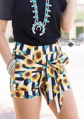 My Happy Place Bow Shorts-Sunflowers