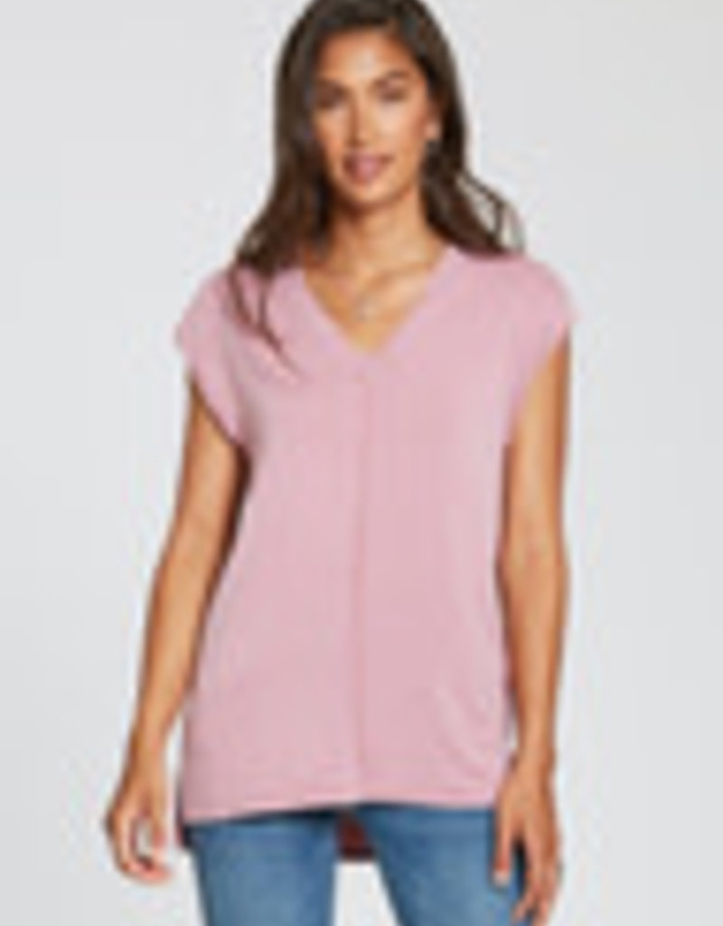 Gina V-Neck, Relaxed Fit, Twist Fabric Detail Exposed Seaming Detail