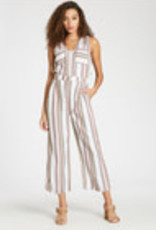 Rumi Stone Washed, Striped, Straight Leg, Relaxed Fit Romper Tencel