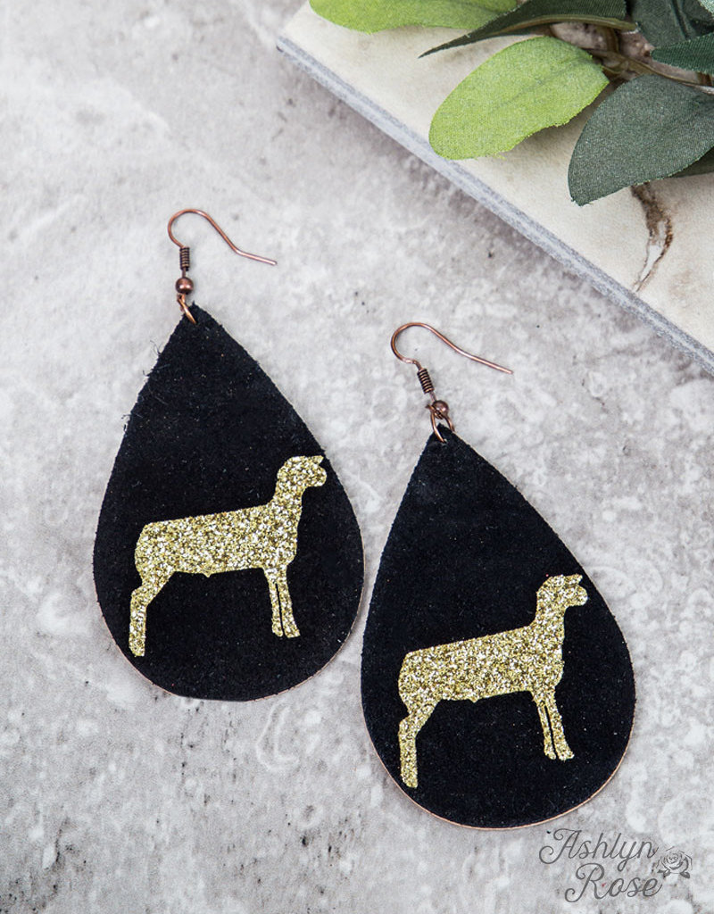 Teardrop Earrings w/ Gold Glitter