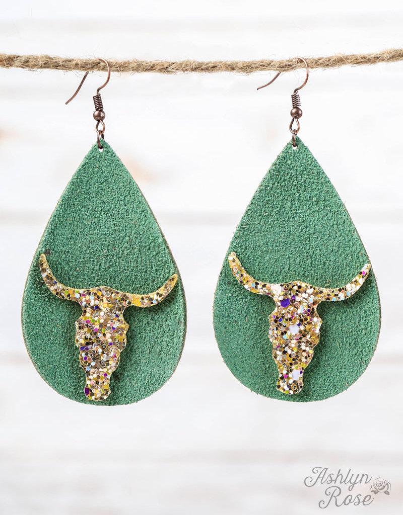 Leather Teardrop Earrings w/ Gold Glitter