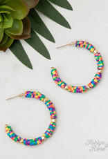 All Summer Long Beaded Hoop Earrings