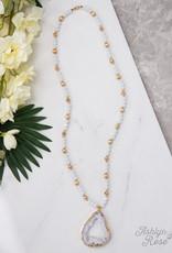 Glittering Geode Beaded Necklace w/ Stone