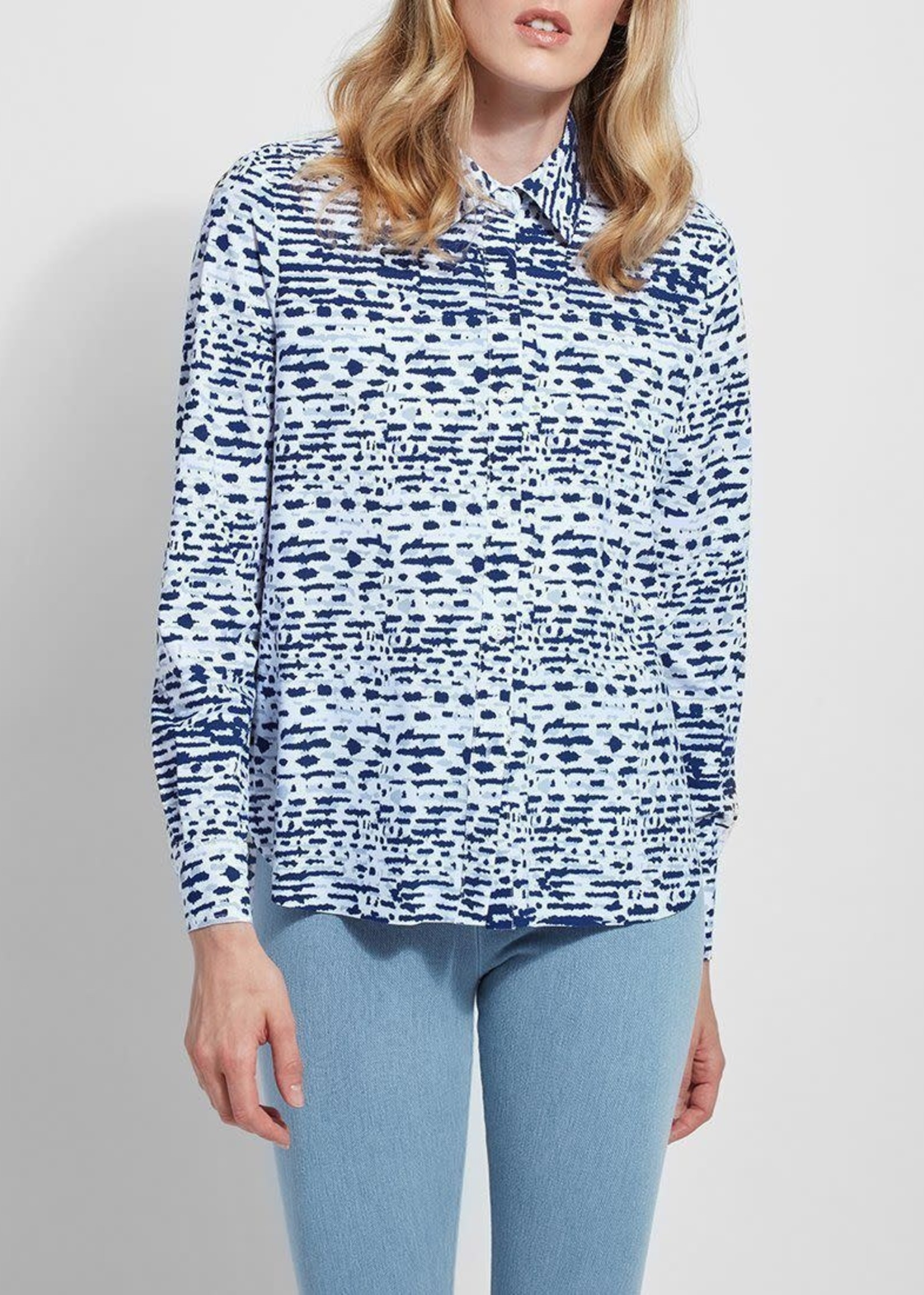 Connie Slim Button Down Printed (Microfiber) Shirt