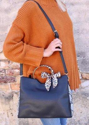 Marlee Bag w/ Decorative Handle, Long Strap & Snake Print Trim