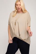 Drop Shoulder Knit Top w/ Pleated Front-One Size