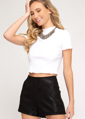 Snake Skin Faux Suede Shorts