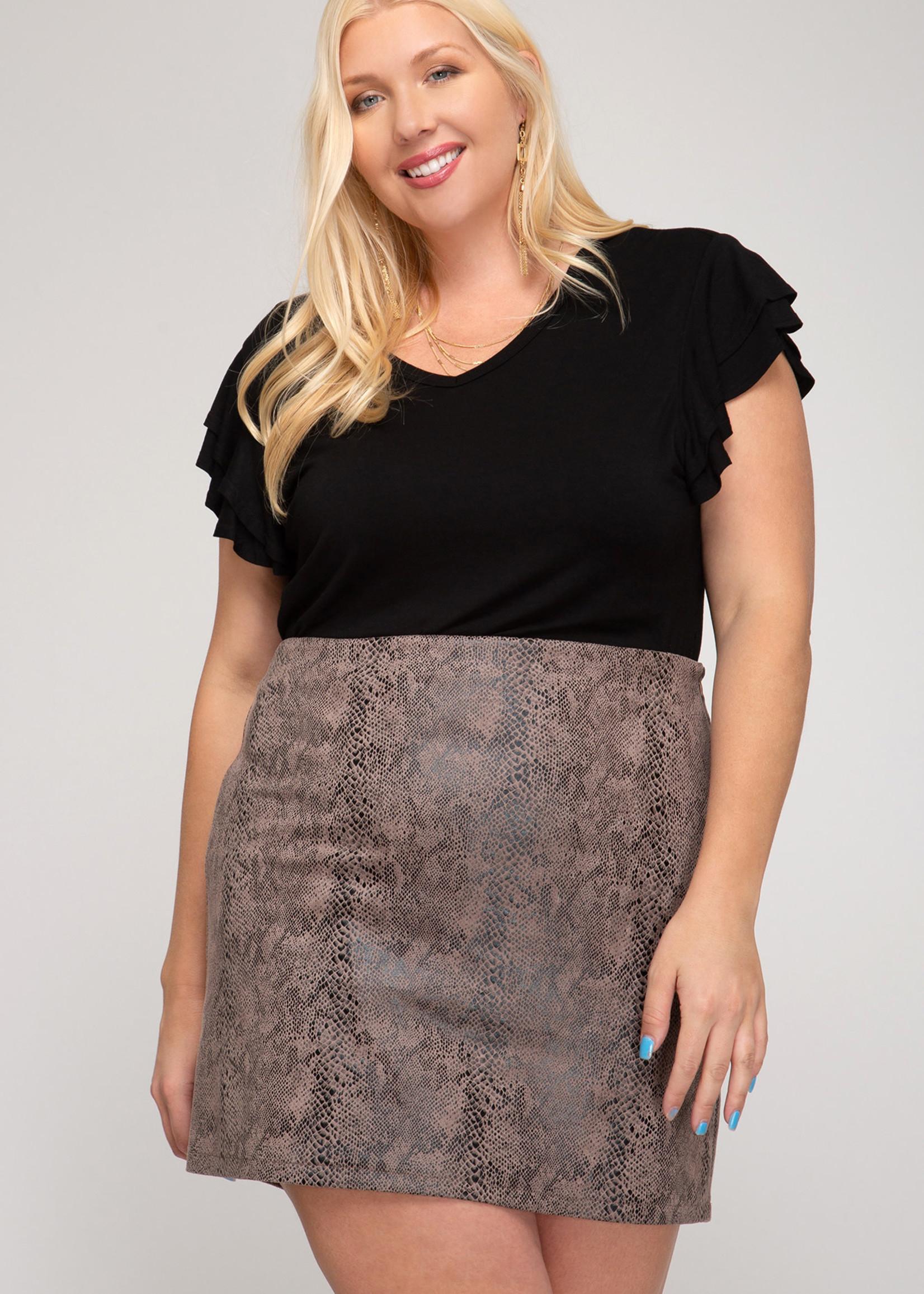 Snake Skin Print Faux Suede Mini Skirt