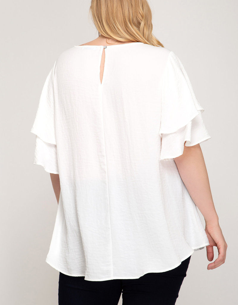 Double Flutter Sleeve Woven Top