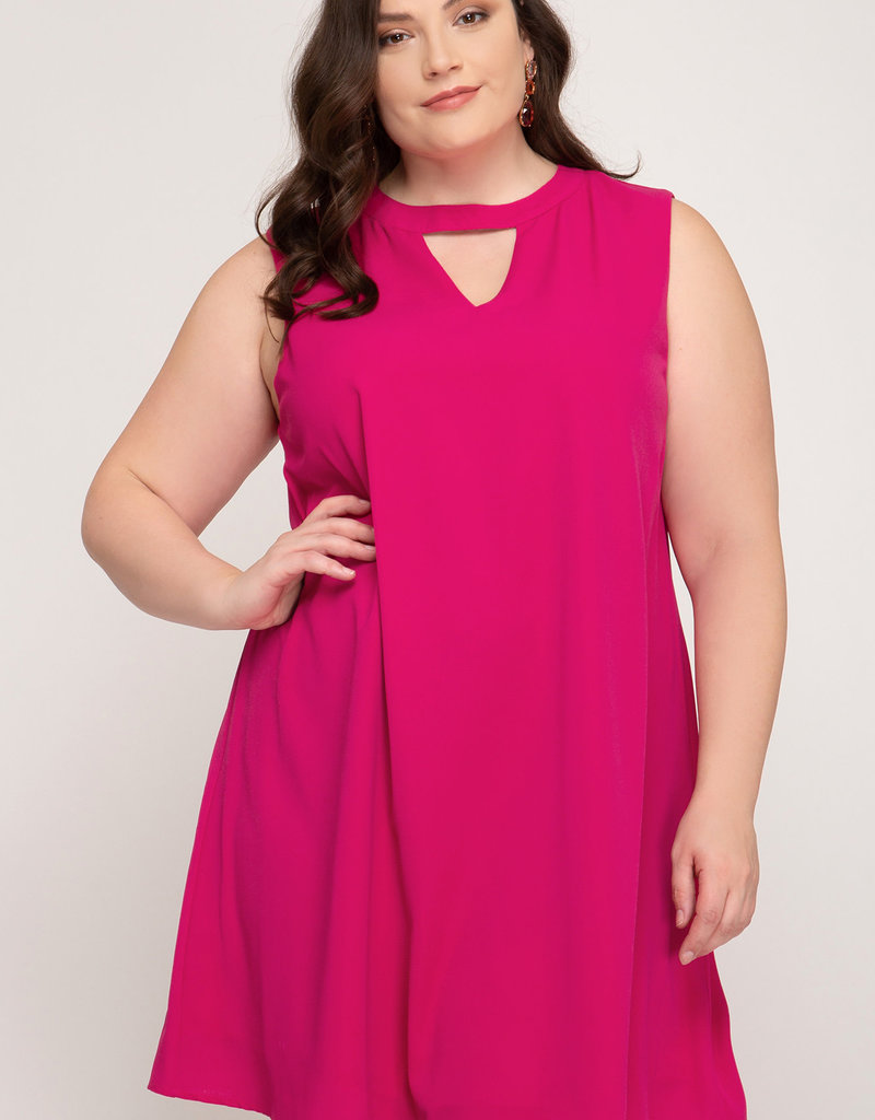 Sleeveless Dress w/ High Neck and Keyhole