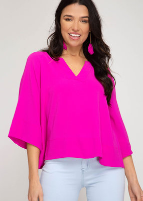 3/4 Wide Sleeve V-Neck Top