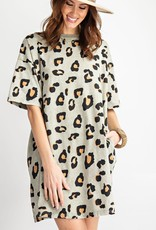 Short Sleeves Cheetah T-Shirt Dress